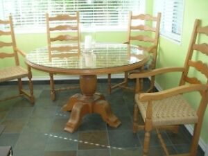 Pine solid conference table with ladder back chairs