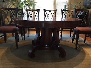 "54"" ROUND MAHOGANY DINING TABLE AND CONTEMPORARY  CHAIRS"