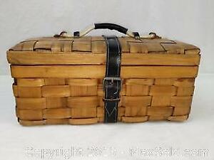 Wicker Basket with Leather Trim