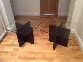 Glass topped side tables - excellent condition
