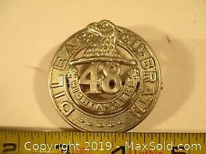 WW II. Canada, Larger Size 48Th Highlanders Canadian Army Hat Badge.
