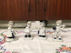 Miniature Set of 4 Figurines in blue & white