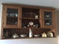 SOLID PINE GLAZED WALL CABINET