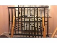 Double metal bed frame with solid wooden posts very strong frame
