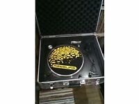 "direct drive turntable record deck with flight case and 50 house vinyl 12"" records"