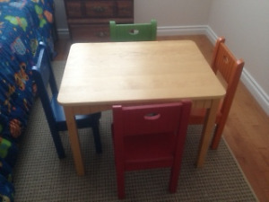 Pine Children's Table with 4 painted chairs.