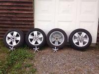 "4 genuine VW Devonport 17"" alloy wheels with 215 x 17 tyres"