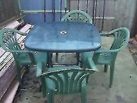 SQUARE GARDEN TABLE AND 4 CHAIRS - CLACTON ON SEA - CO15 6AJ