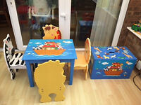Noah's ark table and 4 chairs with matching storage box