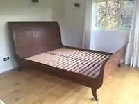 Solid super king size sleigh bed frame
