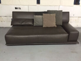 Molteni Brown Leather Sofa and matching Stool