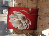 red flower wall art - 1 large and 3 small