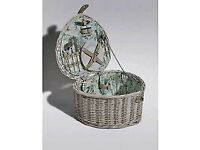 Wicker Picnic Basket with Cups, Plates & Cutlery