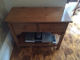 solid waxed pine tv/side table
