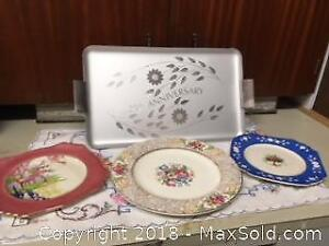25th Anniversary Serving Tray & 3 Decorative Vintage Cake Plates