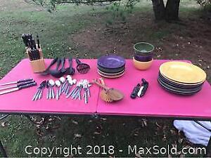 Dishes, Stainless Cutlery, Butcher Block Lot