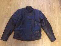 Motorbike leather jacket trousers and gloves