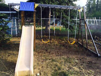 swing set and outdoor play structure