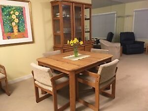 Solid Oak Dining Room Set - buffet, hutch, table and 8 chairs
