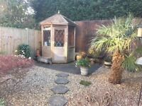 Cedar Summer House, GAtwick Area, Octagonal with half glazed with leaded lights, Great Condition