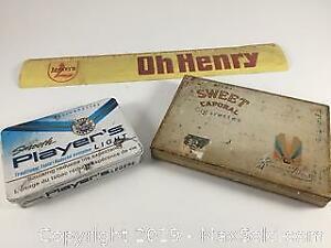 Vintage Metal Ruler And Tins