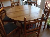 Pine table and chairs free to collector