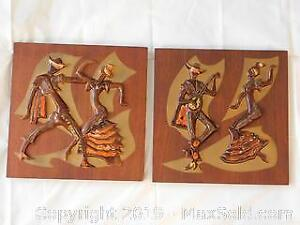 Matched Pair of Maurice Chalvignac Ceramic/Wood Wall Plaques.