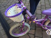Girls 14 inch bike with stabilizers