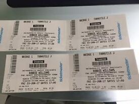 x4 Robbie Williams tickets Friday 23rd June, Olympic Park £50 each