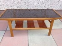 REDUCED****RETRO-VINTAGE TEAK MYERS SMOKE GLASS COFFEE TABLE****REDUCED