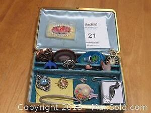 Costume Jewelry in vintage Jewelry Box - A