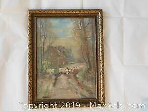 Original Vintage Painting of Country Sheep on road home. Signed