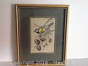 Vintage Silk Embroidery Of Bird Made in England
