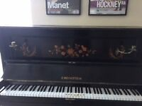 Bechstein piano; beautiful antique. 145cm wide; ebony veneer; brass candle stick feature.