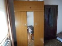 Tall double wardrobe with full lenght mirrow and detachable top