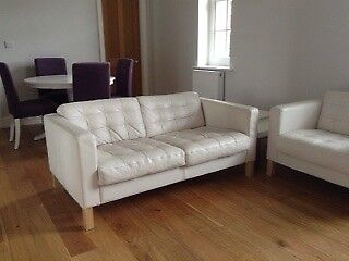 Beau Two Seater White Leather Sofa And Armchair IKEA Karlsfors (now Landskrona)  Great For