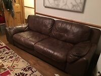 Beautiful Dark Brown Faux Leather Sofa, Almost New And Hardly Used.