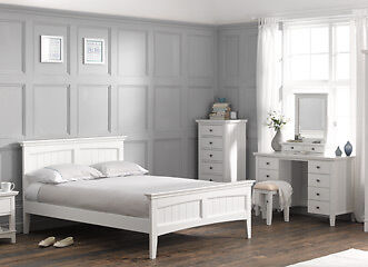 Stunning quality white wooden bedroom furniture double bed bedside chest dressing table for Quality white bedroom furniture