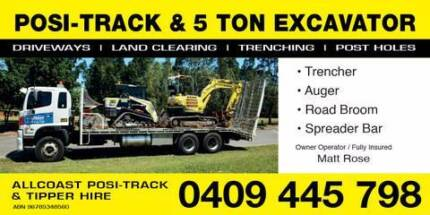 Allcoast Posi-Track / Bobcat & Excavator Hire - Wet Hire - Combo