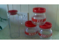 Glass kitchen caddies set and glass, fridge door jug
