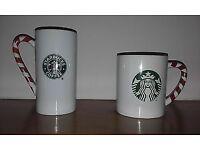 Starbucks Candycane Mugs cappacino and latte