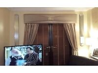 """Boxed pelmet and curtains 70"""" dark gold"""