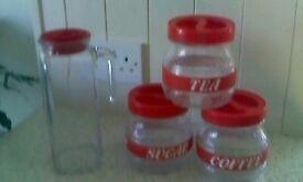 Glass kitchen caddies/container set, Inc. Fridge door jug