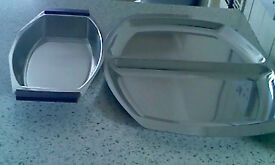 Reduced-2 items-Stainless steel Serving platter + dish, handy for Xmas