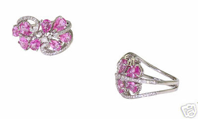 18k Wg Ladies Pink Sapphire Diamond Fashion Ring