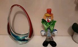 Glass basket and clown