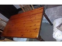 solid pine dining table and four chars