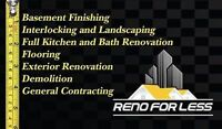 General Contracting, Basement Finishing, Bath Reno, Interlocking
