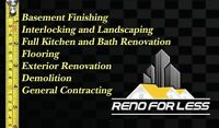General Contracting, Basement Finishing,Bath reno, Interlocking