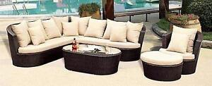 NEW Outdoor Sectional Sofa Set with Orange Cushions